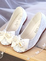 cheap -Girls' Flats Comfort / Flower Girl Shoes Lace / Mesh Lace Little Kids(4-7ys) / Big Kids(7years +) Pearl / Flower White / Dusty Rose Spring / Fall / Party & Evening