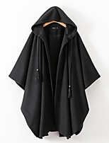 cheap -Women's Fall & Winter Cloak / Capes Long Solid Colored Daily Basic Black S M L / Oversized