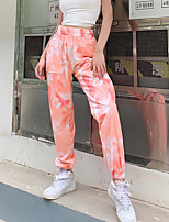 cheap -Women's Basic Daily Harem Pants Tie Dye Breathable Blushing Pink Orange S M L
