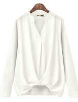 cheap -Women's Blouse Shirt Solid Colored Long Sleeve Patchwork Knotted V Neck Tops Loose Basic Elegant Basic Top White Black