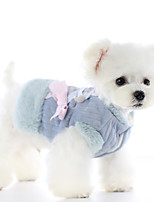 cheap -Dog Coat Jumpsuit Bowknot Casual / Daily Cute Casual / Daily Winter Dog Clothes Warm Blue Pink Costume Polyster XS S M L XL