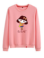 cheap -Women's Sweatshirt Sweatshirt Womens Pullover Sweatshirts Black White Pink Cartoon Crew Neck Cartoon Cute Sport Athleisure Pullover Long Sleeve Warm Soft Comfortable Everyday Use Causal Exercising