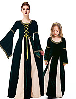 cheap -Witch Cosplay Costume Outfits Group Costume Kid's Adults' Women's Cosplay Halloween Halloween Festival / Holiday Polyester Dark Green Women's Easy Carnival Costumes / Dress / Headwear / Dress