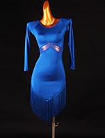 cheap -Latin Dance Dress Tassel Split Joint Women's Training Long Sleeve High Mesh Spandex