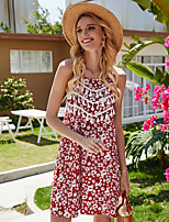 cheap -Women's A-Line Dress Short Mini Dress - Sleeveless Print Backless Patchwork Print Summer Off Shoulder Casual Slim 2020 Red Yellow S M L XL