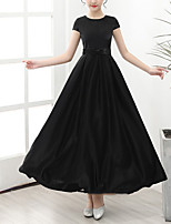 cheap -A-Line Round Neck Floor Length POLY / Satin Junior Bridesmaid Dress with Bow(s)