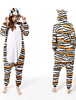 cheap -Adults' Kigurumi Pajamas Cat Onesie Pajamas Flannelette Yellow Cosplay For Men and Women Animal Sleepwear Cartoon Festival / Holiday Costumes