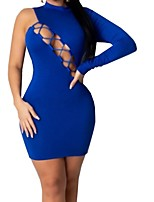 cheap -Women's Sheath Dress Short Mini Dress - Long Sleeve Solid Color Backless Mesh Spring One Shoulder Sexy Going out Slim 2020 Black Blue S M L XL XXL