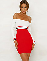 cheap -Women's A-Line Dress Short Mini Dress - Long Sleeve Striped Patchwork Fall Off Shoulder Sexy Daily Cotton Slim 2020 Red S M L XL