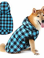 cheap -super warm dog winter hoodie coat with fur, british plaid puppy pet clothes cold weather doggie windproof clothing for small medium large dogs (blue)