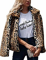 cheap -Women's Single Breasted Faux Fur Coat Regular Leopard Print Daily Sexy Print Faux Fur Brown S M L