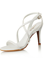 cheap -Women's Sandals Pumps Open Toe Daily Office & Career Leather Almond / White / Black