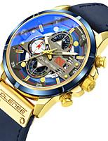 cheap -Men's Sport Watch Quartz Sporty Stylish Casual Water Resistant / Waterproof Genuine Leather Black / Blue / Brown Analog - Black+Gloden White+Gold Black