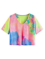 cheap -women& #39;s casual v neck short sleeve tie dye crop top t-shirt pink blue xl