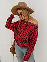 cheap -Women's Blouse Shirt Leopard Cheetah Print Long Sleeve Print Round Neck Tops Loose Basic Basic Top Red Yellow Khaki