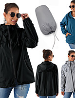 cheap -Women's Hiking Jacket Hiking Windbreaker Outdoor Solid Color Thermal Warm Waterproof Windproof Breathable Jacket Full Length Visible Zipper Fishing Climbing Camping / Hiking / Caving Black / Blue