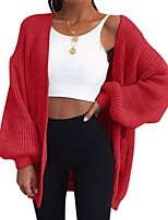 cheap -Women's Basic Knitted Solid Color Plain Cardigan Long Sleeve Loose Sweater Cardigans V Neck Fall Winter Blue Red Blushing Pink