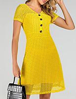 cheap -Women's A-Line Dress Knee Length Dress - Short Sleeve Solid Color Summer Casual 2020 Yellow S M L XL XXL