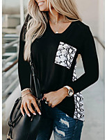 cheap -Women's Tunic Abstract Long Sleeve Print Round Neck Tops Loose Basic Basic Top White Black Red