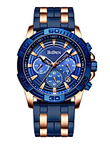 cheap -men chronograph sport watches rubber strap quartz watch business casual wrist watch for men (gold blue)