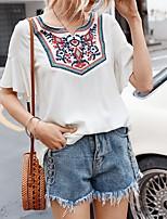 cheap -Women's Blouse Tribal Print Round Neck Tops Cotton Basic Basic Top White
