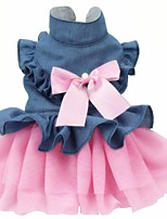 cheap -Dog Cat Dress Bowknot Stylish Sweet Style Dog Clothes Pink Costume Cotton XS S M L XL XXL