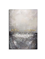 cheap -100% Hand Painted Abstract Style River Trace Wall Pictures for Living Room Bedroom Aisle White Grey white Colors Canvas Painting Rolled Without Frame