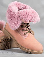 cheap -Women's Boots Wedge Heel Round Toe Casual Daily Lace-up Solid Colored Cotton Mid-Calf Boots Walking Shoes Black / Pink
