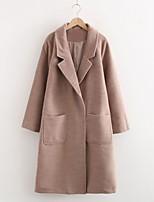 cheap -Women's Coat Long Solid Colored Daily Basic Blushing Pink Khaki S M L