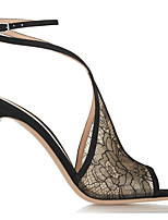 cheap -Women's Sandals Stiletto Heel Peep Toe Sexy Wedding Party & Evening Lace Floral Lace Walking Shoes Black