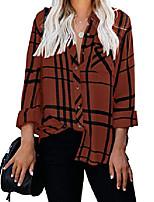 cheap -women& #39;s long sleeve v-neck stripes casual blouses pocket button down shirt tops & #40;medium, brown& #41;