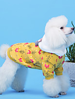 cheap -Dog Coat Hoodie Floral / Botanical Casual / Daily Cute Casual / Daily Winter Dog Clothes Warm White Yellow Blue Costume Cotton XS S M L XL XXL