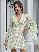 cheap -Women's A-Line Dress Short Mini Dress - Long Sleeve Print Ruffle Patchwork Summer V Neck Casual Elegant Flare Cuff Sleeve Slim 2020 Green S M L