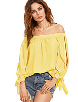 cheap -women's off shoulder slit sleeve tie cuff blouse top xx-large yellow