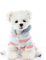 cheap -Dog Coat Pajamas Stripes Fruit Casual / Daily Cute Casual / Daily Winter Dog Clothes Warm Rainbow Costume Polyster XS S M L XL