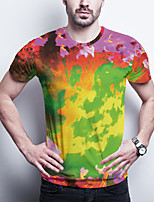 cheap -Men's Daily Plus Size T-shirt Graphic Print Short Sleeve Tops Basic Round Neck Rainbow / Sports