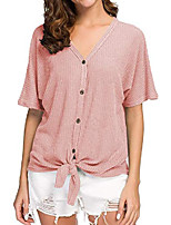 cheap -womens v neck loose fitting batwing short sleeve tie front henley tops xl pink