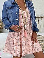 cheap -Women's A-Line Dress Knee Length Dress - Short Sleeve Print Print Summer Casual Elegant Daily Vacation Loose 2020 Blushing Pink S M L XL XXL