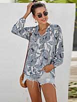 cheap -Women's Blouse Floral Long Sleeve Print Round Neck Tops Vintage Basic Top White Black Blue