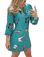 cheap -Women's Sheath Dress Short Mini Dress - Long Sleeve Solid Color Patchwork Fall Casual 2020 White Black Blue Beige Light Blue S M L XL