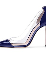 cheap -women's patent pumps 100mm plexi panel blue shoes slip on high heels us12
