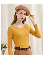 cheap -Women's Blouse Solid Colored Long Sleeve V Neck Tops Cotton Basic Basic Top Blue Yellow