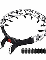 cheap -dog prong collar, dog pinch collar, adjustable stainless steel links with comfort rubber tips, high strength quick release buckle, for small medium large dogs (medium, 3.0mm, 19.6-inch)