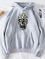 cheap -Women's Daily Pullover Hoodie Sweatshirt Skull Basic Halloween Hoodies Sweatshirts  Black Purple Red