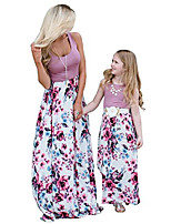 cheap -4th of july american flag mommy and me stripe stitching beach maxi dresses (purple, xl)