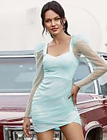 cheap -Women's Sheath Dress Short Mini Dress - Long Sleeve Polka Dot Ruched Mesh Summer Square Neck Casual Elegant Puff Sleeve 2020 Blushing Pink Green S M L