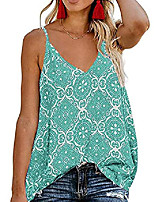 cheap -womens ladies v neck boho spaghetti strap tank tops sleeveless blouses shirts green 2xl