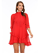 cheap -Women's Shift Dress Short Mini Dress - Half Sleeve Solid Color Mesh Patchwork Summer Casual Slim 2020 Red S M L