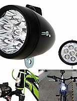 cheap -vintage retro bicycle bike front light lamp 7 led fixie headlight with bracket (black)