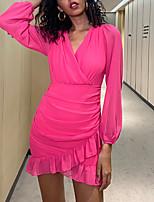 cheap -Women's Sheath Dress Short Mini Dress - Long Sleeve Solid Color Zipper Fall V Neck Sexy Party Puff Sleeve Slim 2020 Fuchsia S M L